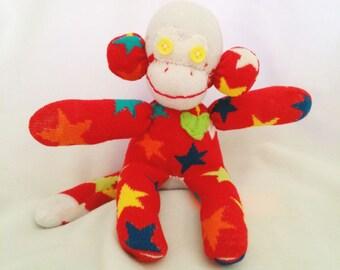Sean Stars Sock Monkey-One Of A Kind-Ready 2 Ship