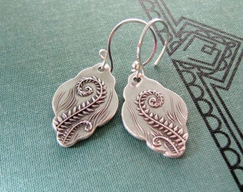 Fiddleheads No. 2, Artisan PMC Jewelry, Fine Silver Fern Earrings, SilverWishes Original and Exclusive