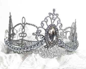 Silver Lace Crown, princess crown and optional lace petti romper for photo prop, or first birthday outfit girl, cake smash
