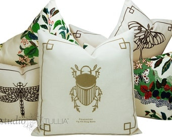 Silkscreen Pillows - Bug Pillows - 14x14 and 20X20 - Natural and Gold - The Bug Chicks Collection -  Beetle pillow - designer pillow