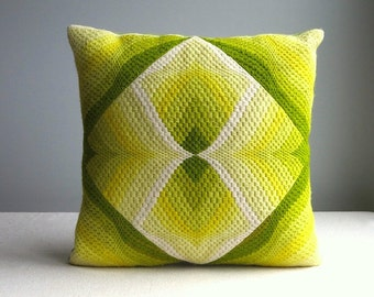Vintage Needlepoint Pillow - Bright Acid Yellow Green Op Art Four Way Bargello 3D - 1970s - Decorative Throw - Modern Decor 15 x 15 Inches