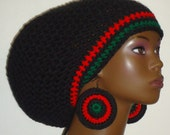 Pan-African Trim Crochet Large Tam with Drawstring and Earrings Black Red Black Green by Razonda Lee RazondaLee Made to Order