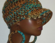 Chunky Crochet Baseball Cap with Hoop Earrings by Razonda Lee Razondalee Ready to Ship Tan Brown Aqua Ivory Turquoise Assorted Patterns
