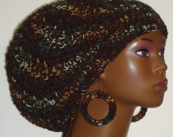 Mixed Camouflage Chunky Large Crochet Tam Hat with Drawstring and Earrings Dreadlocks by Razonda Lee Razondalee