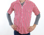 Vintage 50's Disney Hotel shop shirt, red & white striped casual shirt, pullover button down, short sleeved - Medium / Large