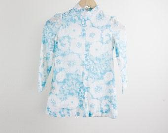 Vintage 60's floral girls dress, sheer top layer, A-line, Peter Pan collar, Saks Fifth Avenue