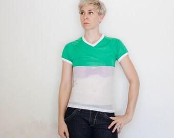 Vintage 80's half mesh running shirt, green nylon upper, white mesh lower, small v-neck, white trim collar and sleeves - XS