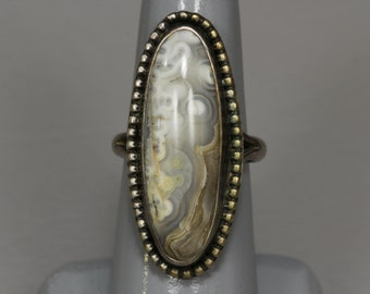 Old Pawn Navajo Agate Jasper Sterling Silver Ring, Large Vintage Ring, Size 7
