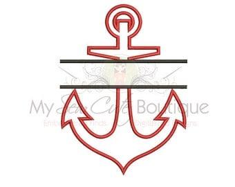 Split Anchor Applique Design - 10 Sizes - Instant Download
