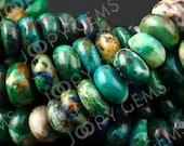 Chrysocolla Beads B grade, gloss finish, rondelle, 7-8mm, FULL STRAND, BDCHRYCOGFRLB78