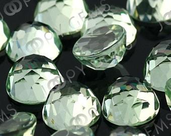 Green Amethyst Cabochon 6mm Rose Cut Round - 1 cab
