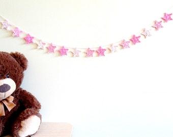 Star garland - crochet stars banner - pink stars decor - girls nursery ideas - twinkle twinkle little star first birthday for girl ~31.5 in