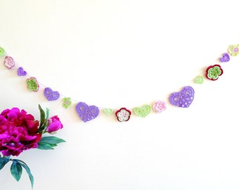 Boho summer decor - Mothers day decor - hearts and flowers garland - crochet garland - summer time decor - green and purple garland ~47.3 in