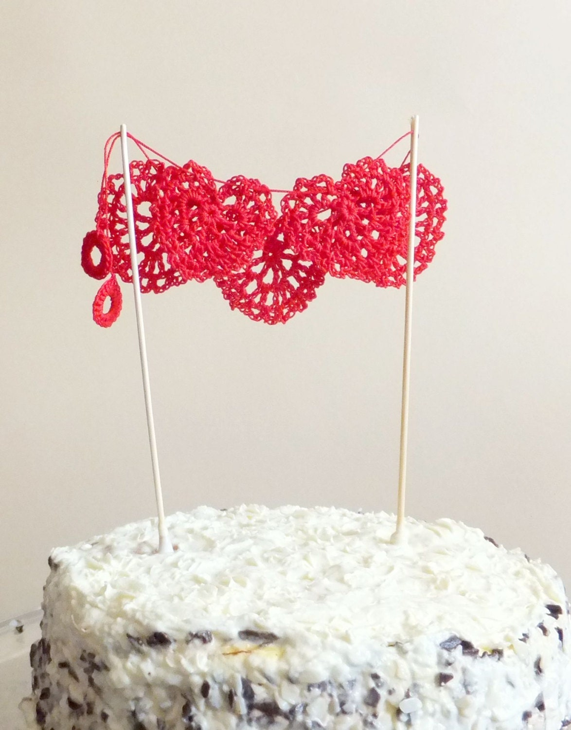 Red hearts cake topper romantic Wedding cake topper