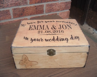 Vintage wedding Keepsake Memory Box personalized wooden box xmas family bride and groom