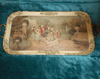 LANCASTER  Great Barbola 1920's Dresser Tray with handles rectangular print of 1800's grouping in the garden (L204)