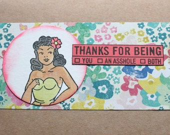 Rude Thank You Card Sarcastic Thank You Card Funny Pin Up Girl