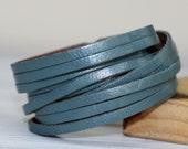 SALE Multi Strand Cuff Bracelet, Metallic Genuine Leather Wrap Bracelet