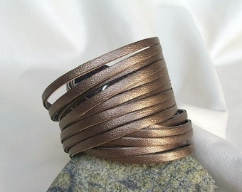 Wrap Leather Bracelet, Multi Strand Cuff, Metallic Bronze Genuine Leather