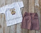 Bulldog tee and shorts set for boys MSU