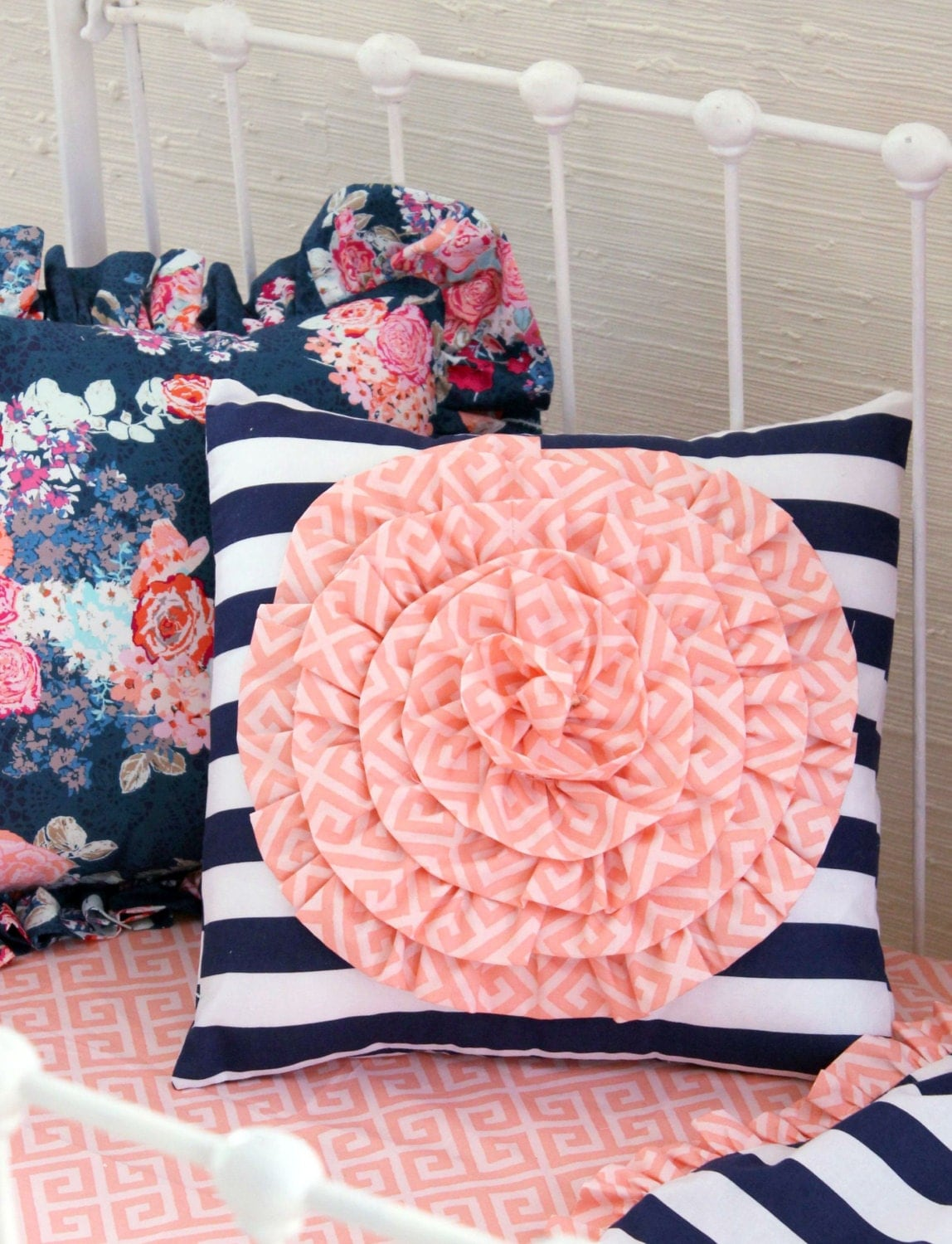 Navy Crib Bedding Baby Girl Bedding Navy Coral Nursery