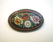 Micro Mosaic Flowers Oval Brooch Italy - Black Red Yellow White Green