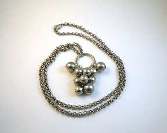 Mid Mod Silver Ball Cluster Long Silver Necklace