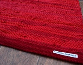 Handwoven Rug - 27x 36 woven from RED Recycled T Shirts - Washable & Reversible