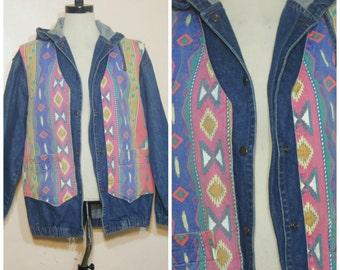 Tribal Southwestern Jeans Jacket Medium Large Oversized Hooded 90s