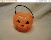 Valentines Sale Vintage Miniature Plastic Pumpkin Basket, Jack o Latern, collectable Great for Halloween.