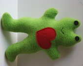 Froggie Squeaky Fleece Dog Toy Valentine's Edition