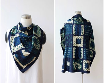 Sea Tones Scarf Mod Scarf Large Square Scarf Blue Green Scarf Made in Italy