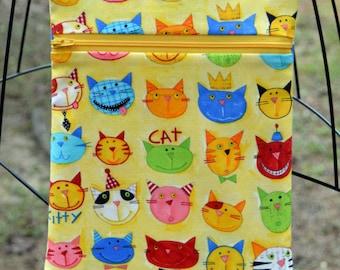 Handmade Bright Yellow whimsical cat bag, Cross Body Bag, Hipster, Travel Bag