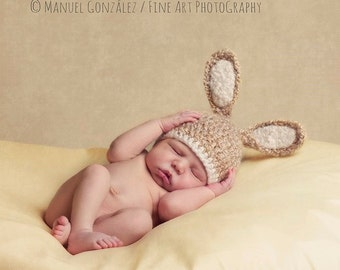 Baby Bunny Hat, Newborn Photography Prop, Baby Photo Prop