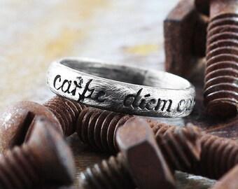 Carpe Diem Ring Script Rings Oxidized Brushed Sterling Silver Finish