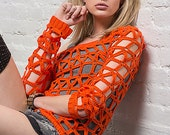Crochet geometrical burnt orange see through sweater - Ready To Ship - size S