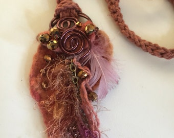 Nuno Felted Necklace.....Creamy Copper....Long and Lovely