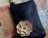 Black Leather with Cream Alabaster Beige Poppy Flower Cell Phone Galaxy Iphone Smartphone Sling Crossbody Camera Gadget Case Zipper Pouch