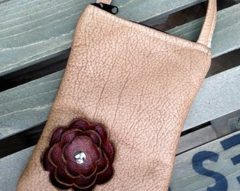 Toffee Tan Brown Fall Leather Flower Cell Phone Galaxy Iphone Camera Sling Crossbody Case Zipper Pouch Small Purse