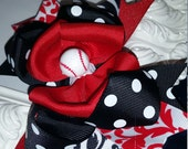 Over The Top Hairbow..You Pick your Team Colors..Layered Boutique Bow and Headband..Baseball Baby