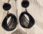 Vintage Black Enamelled Spring Hoops Mod 1960s Slinky Earrings Clip-Ons