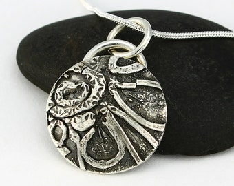 Handcrafted Sterling Silver Sunflower Pendant Fused Sterling Stylized Design OOAK Abstract Contemporary Artisan Jewelry Design 812953269915