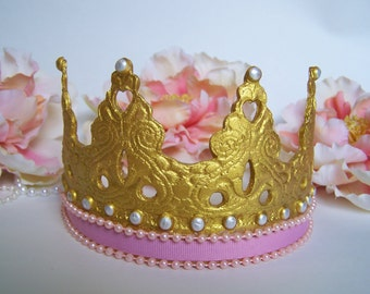 Pink and Gold Crown Cake topper, princess cake topper, princess baby shower,  princess birthday, princess first birthday