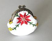 Handmade  vintage cross stitch flower coin purse