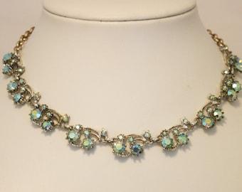Vintage crystal rhinestone necklace. Green aurora borealis