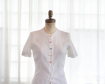 35% OFF - Vintage 1950s Linen Blouse - 50s White Shirt - Baby Butterfly Blouse