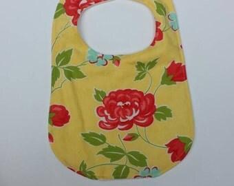 Girls Yellow Floral Print Bib