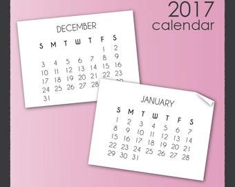 2017 Calendar Clip Art in Sans Serif Font
