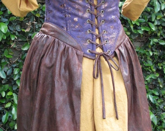 "Go Plunder in Purple Steampunk Underbust Corset with Attached Half OverSkirt Ready to Ship Waist Size 29"" to 31"""