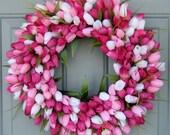 Spring Wreath - Spring Tulip Wreath - Spring Door Wreath